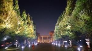 会場となった靖国神社参道。お祭り終了後に撮影。